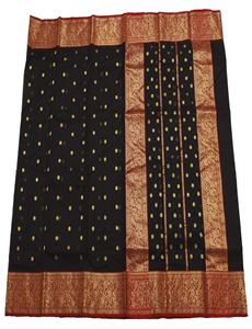 Gold Buti Black Chanderi Silk Saree