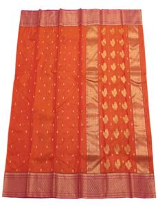 Orange Small Trees Chanderi Silk Saree